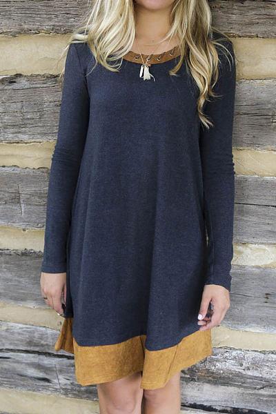 Navy Lace-up Color Block Long Sleeves Midi Dress