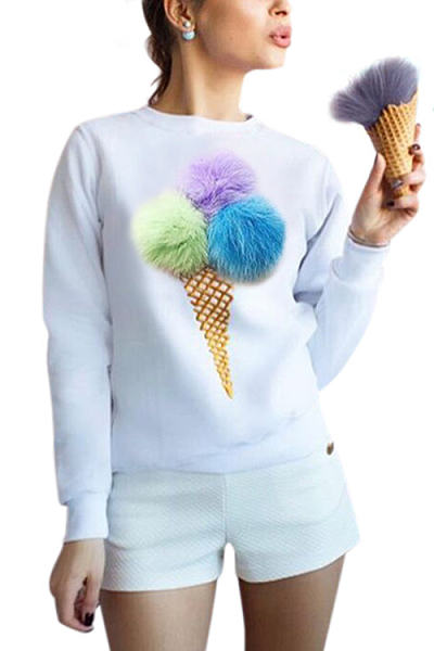 White LOng Sleeves Round Neck Sweatshirt With Pom Pom Details